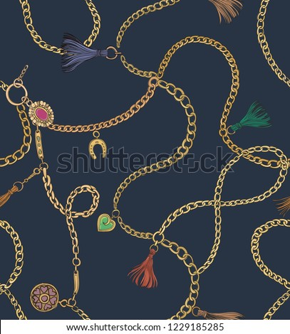 Print with gold chains. Vector seamless pattern. Fabric design.