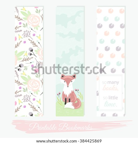 printable bookmarks with flowers fox and polka dots vector templates bookmark
