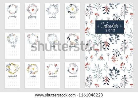 Printable botanical calendar 2019. Romantic seasonal wreaths. Redy to print.