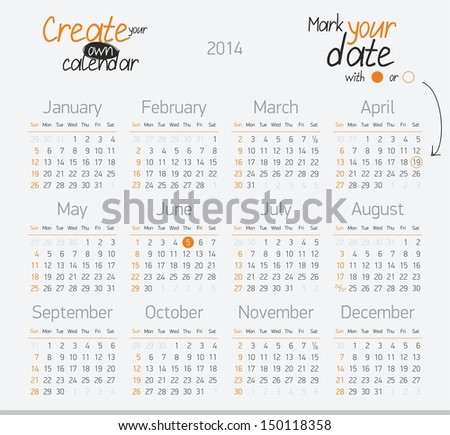 Printable calendar 2014 Easy to edit