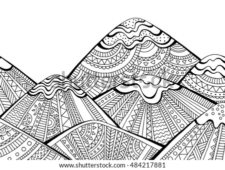 printable coloring page for adults with mountain landscape hand drawn vector illustration