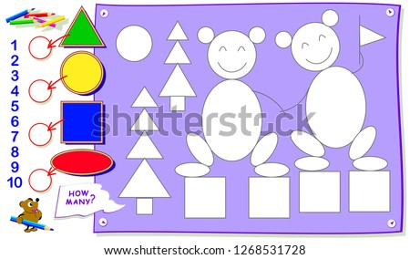 Printable educational page for kids. How many each geometrical figures can you find? Paint them, count the quantity and write numbers in circles. Development children skills. Vector cartoon image.