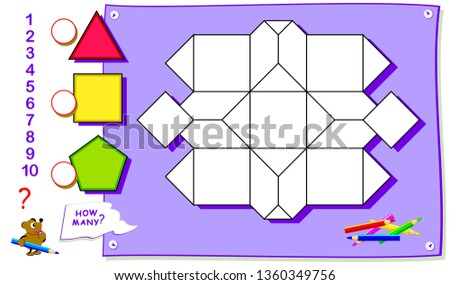 Printable educational page for kids. How many triangles, squares and pentagons can you find? Count the quantity of geometric figures, paint them in corresponding colors and write numbers.