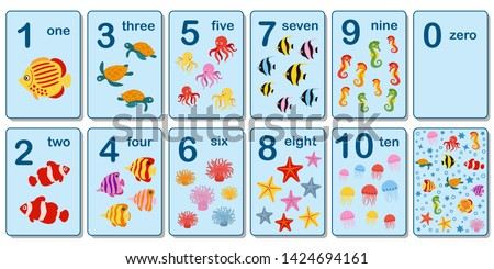 Printable flashcard collection for numbers from 0 to 10 for children on the sea animals and fish theme. For preschool years and kindergarten kids learning numbers, to count. Vector illustration