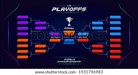 printable sport game tournament championship contest stage, double elimination bracket board chart vector with champion trophy prize icon illustration background in tech theme style layout