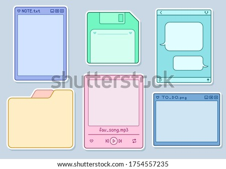 Printable Stickers Set with White Strokes. Form of Folder, Computer Window, Save Icon (Diskette), Music Player, Messenger Dialogue. Colored Frames. Printable Vector for Notes or Diary. Bullet Journal.
