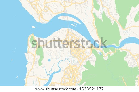 Printable street map of Mira-Bhayandar, State Maharashtra, India. Map template for business use. Сток-фото ©