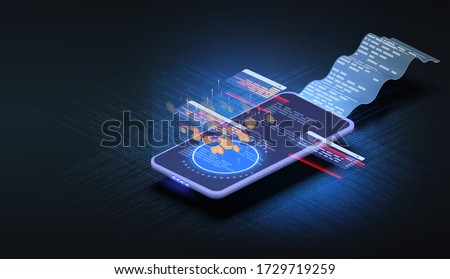 Printed billing receipt, payment bills and financial bank check, money transfer, online bank, budget accounting, electronic bill, phone with paper receipt isometric technology. Receipts bill. Vector