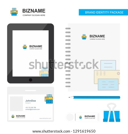 Printer Business Logo, Tab App, Diary PVC Employee Card and USB Brand Stationary Package Design Vector Template #1291619650