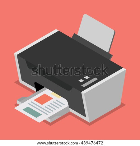 Printer flat style isometric. Vector illustration