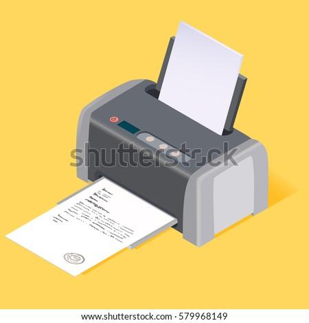 Printer flat style isometric. Vector illustration.