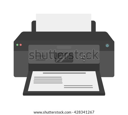 Printer flat vector icon and illustration of printer icon isolated on white