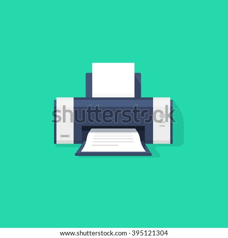 Printer flat vector icon with shadow, printer with paper a4 sheet and printed text document out of printer machine illustration isolated on green background, laser ink jet copier symbol