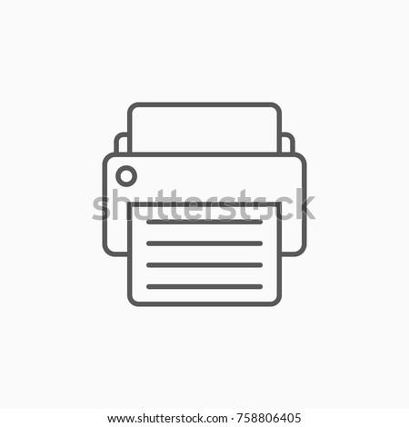 printer icon, fax vector