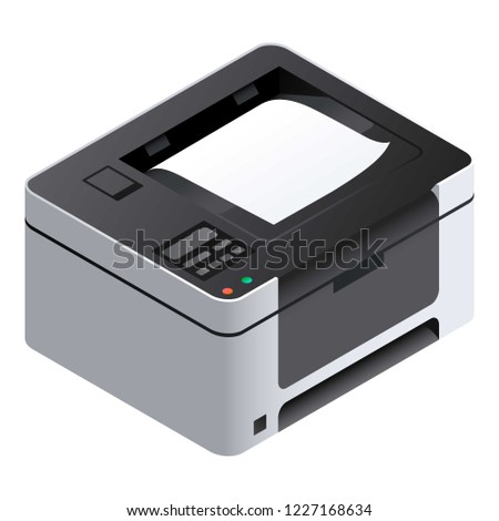 Printer icon. Isometric of printer vector icon for web design isolated on white background