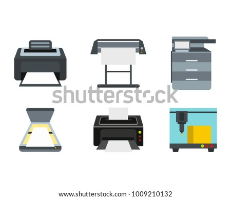 Printer icon set. Flat set of printer vector icons for web design isolated on white background