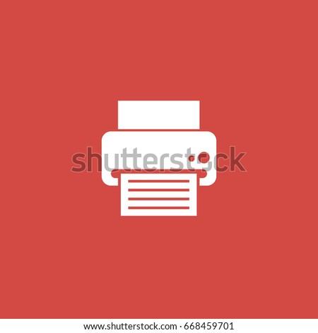 printer icon. sign design. red background