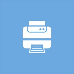 printer icon. vector sign symbol on blue background