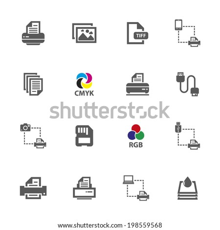 Printer icons, vector.