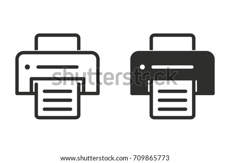 Printer vector icon. Black illustration isolated on white background for graphic and web design.