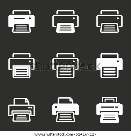Printer vector icons set. White illustration isolated on black background for graphic and web design.
