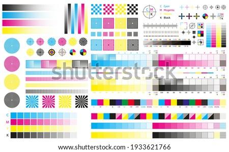 Printing cmyk marks. Offset print calibration marks, gradient color tone, color bars and registration plates. Color printing standard vector illustration set. Publishing graphic symbol utilities Сток-фото ©