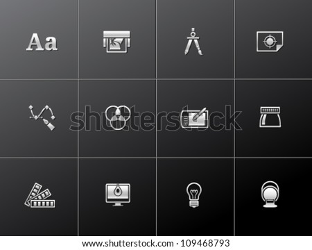 Printing & graphic design icon series in metallic style. - stock vector