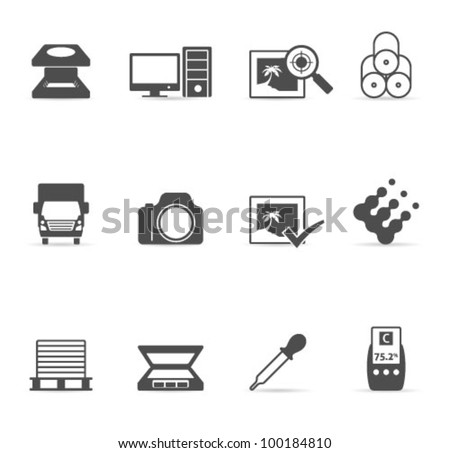 Printing & graphic design icon set. Transparent shadows placed on layer beneath.