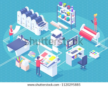 Printing house polygraphy industry isometric composition with human characters, plant and machinery and printer consumable images vector illustration.