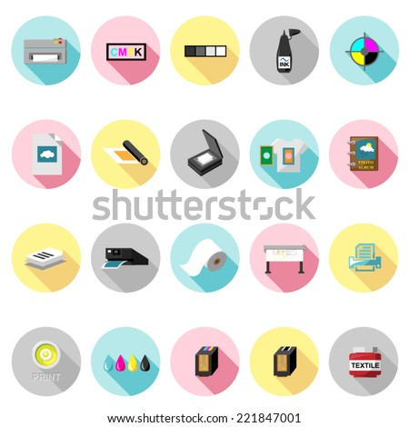 Printing icons set in flat design with long shadow. Illustration eps10