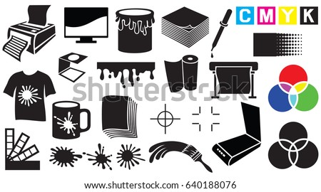 Printing icons set - palette, printer, CMYK and RGB colors, paintbrush, pipette, monitor, magnifier, plotter, gamma and tool. Vector illustration, can, mug, stains