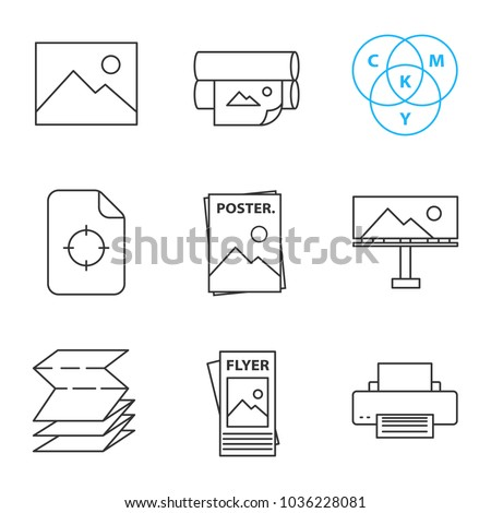 Printing linear icons set. Digital image, printers, CMYK model, printing registration mark, poster, billboard, folded paper, flyer. Thin line contour symbols. Isolated vector outline illustrations