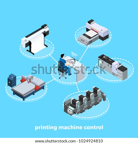 printing machine control, Professional equipment for various types of printing in the field of advertising, offset and digital as well as inkjet and ultraviolet printing, isometric image