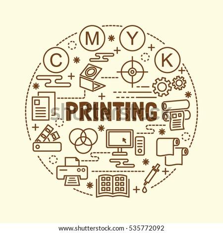 printing minimal thin line icons set, vector illustration design elements
