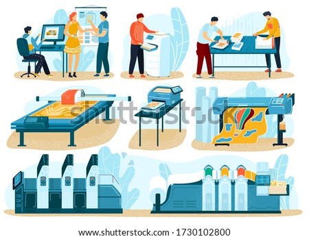 Printing process, people in typography print-shop, print equipment for polygraphic process isolated vector illustrations set. People create typography production for press business, printing house.
