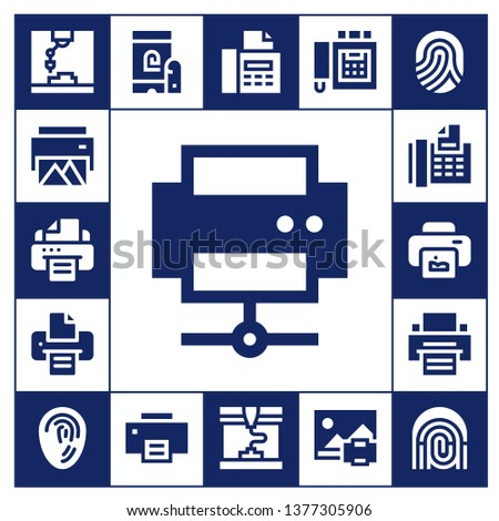 printout icon set. 17 filled printout icons.  Simple modern icons about  - Printer, Fax, Print, Fingerprint, Printing