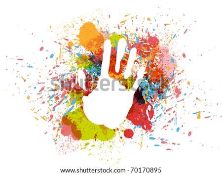 Prints of hand on ink colorful splash.
