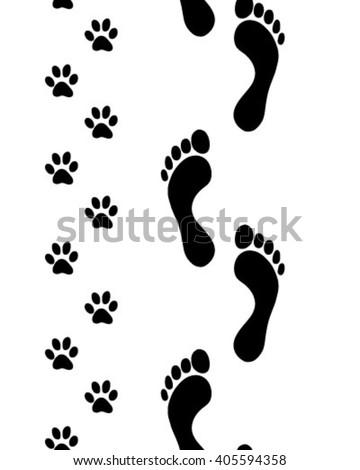 prints of human feet and dog