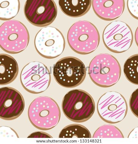 PrintSeamless background pattern of assorted doughnuts, or donuts, with chocolate, white and pink iced ones covered in sprinkles scattered randomly on a white background