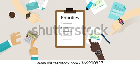 priorities priority concept vector illustration