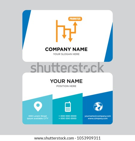 prioritize business card design template, Visiting for your company, Modern Creative and Clean identity Card Vector Illustration