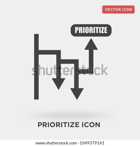 prioritize icon on grey background, in black, vector icon illustration