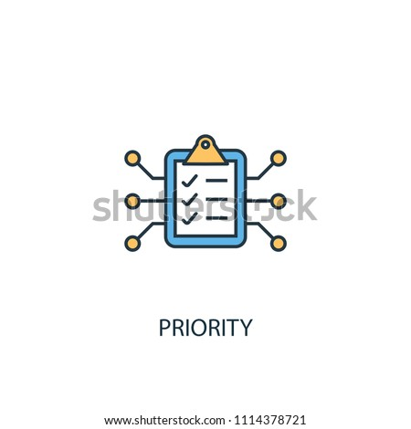 Priority concept 2 colored line icon. Simple yellow and blue element illustration. Priority concept outline symbol design from Artificial Intelligence set. Can be used for web and mobile UI/UX