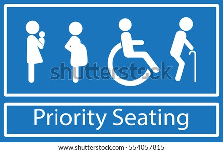 Priority seating sign.  Disability, elderly, pregnant and woman with baby. Vector.