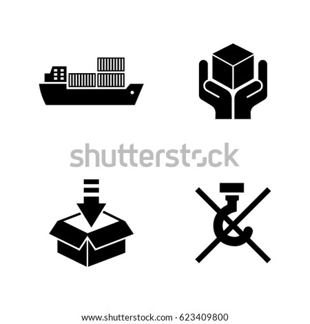 Priority Shipping. Simple Related Vector Icons Set for Video, Mobile Apps, Web Sites, Print Projects and Your Design. Black Flat Illustration on White Background.