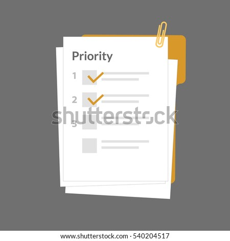 Priority task checklist document paper, vector illustration