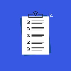 priority to-do checklist or short prescription. concept of inspection list of completed success work tasks and easy poll. flat outline trend modern graphic loan agreement logo design isolated on blue