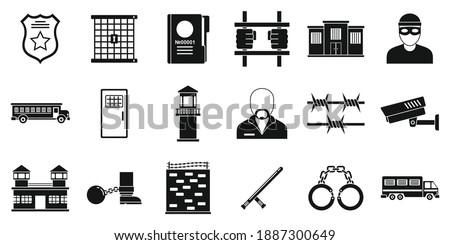 Prison arrest icons set. Simple set of prison arrest vector icons for web design on white background ストックフォト ©