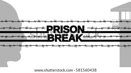 prison break. tower icon. man silhouette. barbed wire