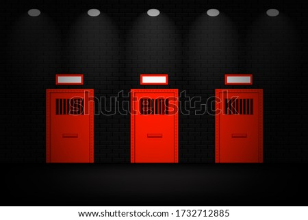 prison door in the dark room